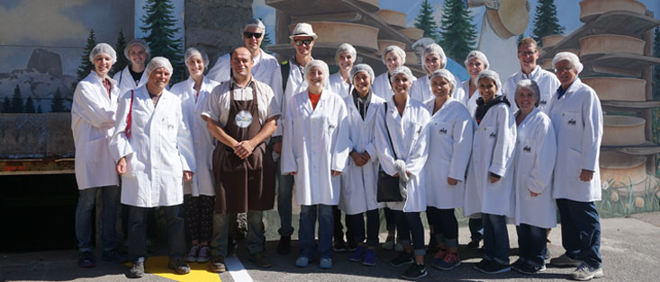 Group Picture in the French Alps at the Beaufortain Dairy Cooperative, home of Beaufort Cheese!  From left to right – Jillian Hawley, Stefani Evers, Philippe Fleury – ISARA faculty member, Daria Van De Grift, Beaufortain Cooperative employee – name not available, Darren Heller, Ex Auxier, Angela Krueger, Katharine Jesse, Bennett Wahl, Lauren Thalhofer, Lauren LaGrande, Kaitlynn Daugherty, McKenzie Searles, Andrea Gooding, Alexis Chavez, Amanda Noble, James Sterns, Larry Lev. Photo taken by Ann Shriver